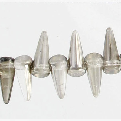 Glass spike beads, 13mm, 5 strands of 36 beads each, crystal chrome