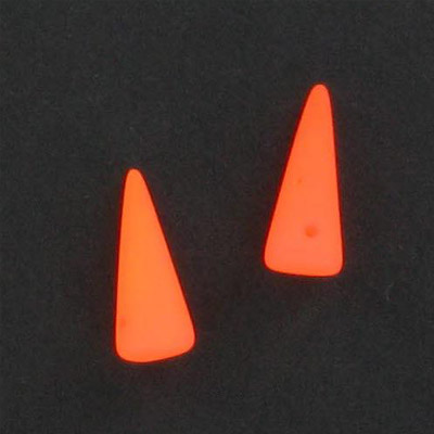 Glass neon beads, 7x17mm spike, fluorescent orange