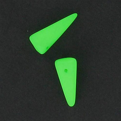 Glass neon beads, 7x17mm spike, fluorescent green