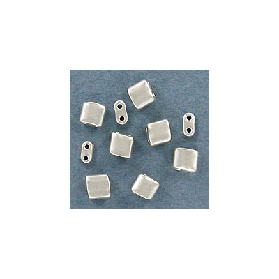 Rocaille beads, 5x5mm, square, two holes, approx. hole size 0.80mm, silver