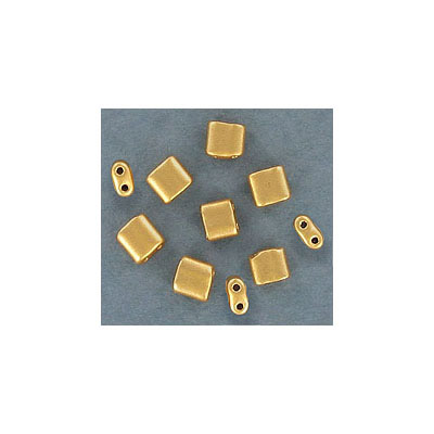 Rocaille beads, 5x5mm, square, two holes, approx. hole size 0.80mm, gold