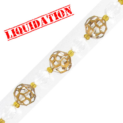 Glass beads, spiderweb, 14mm, faceted, gold, 7 inch strand, 6 beads
