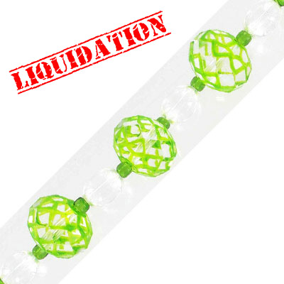 Glass beads, spiderweb, rondelle, 18mm, faceted, lime, 7 inch strand, 6 beads