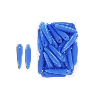 Glass beads, 5x16mm, thorn bead, opaque blue