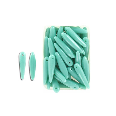 Glass beads, 5x16mm, thorn bead, opaque mint