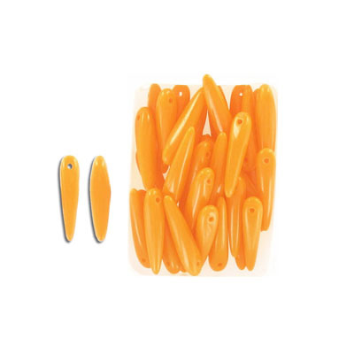 Glass beads, 5x16mm, thorn bead, opaque orange