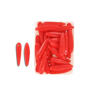 Glass beads, 5x16mm, thorn bead, opaque red