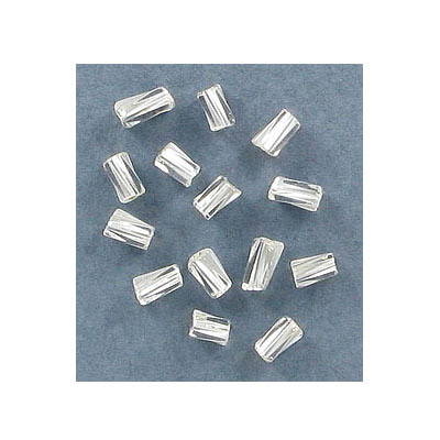 Glass bead, 5x2mm, twisted tube, silver lined