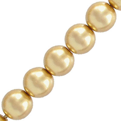 Glass pearls Czech, light gold, 10mm
