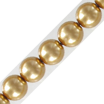 Glass pearls Czech, 10mm, antique gold