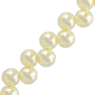 Glass pearls, 10mm, off-center hole, cream