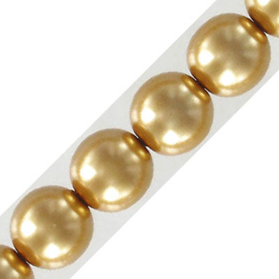 Glass pearls Czech, 12mm, antique gold