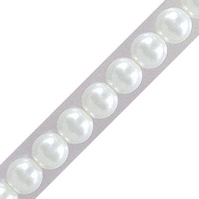 Glass pearls czech, white, 6mm