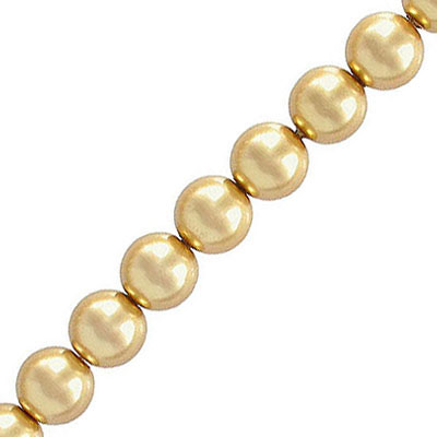 Glass pearls czech, light gold, 6mm