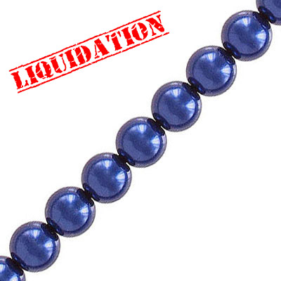 Glass pearls czech, midnight blue, 6mm