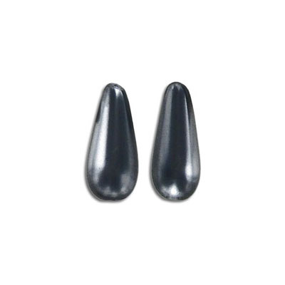 Glass pearls, 9x20mm, pear shape, grey