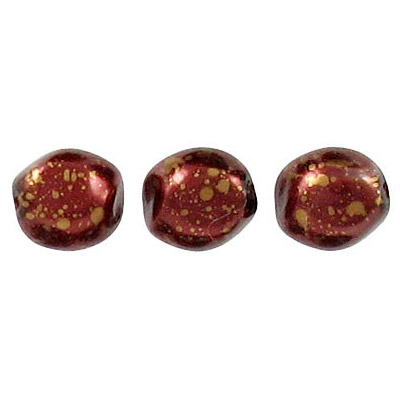 Glass pearls czech, baroque, burgundy/gold loose, 9mm