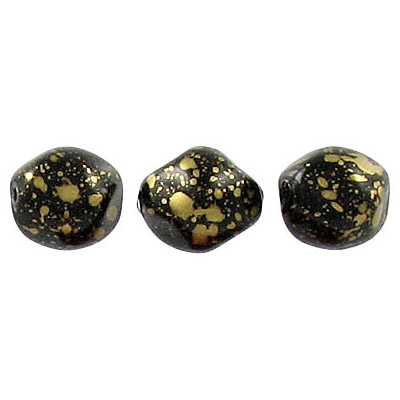 Glass pearls czech, baroque, black/gold loose, 9mm