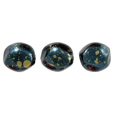 Glass pearls czech, baroque, metallic blue/gold loose, 9mm