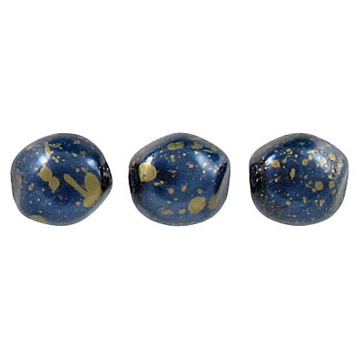 Glass pearls Czech, baroque, dark blue/gold loose, 9mm