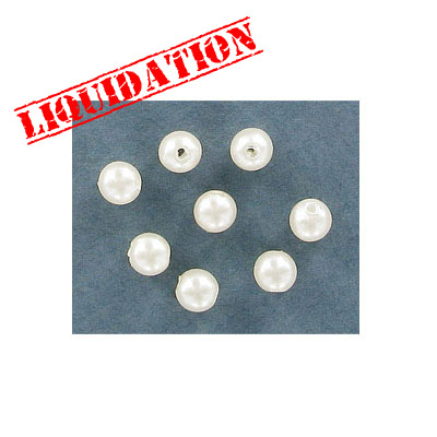Plastic pearls, 6mm, white
