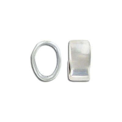 Metal beads for Regaliz leather TT10X7MM, 9x16.5mm, oval spacer, antique silver, zamak alloy