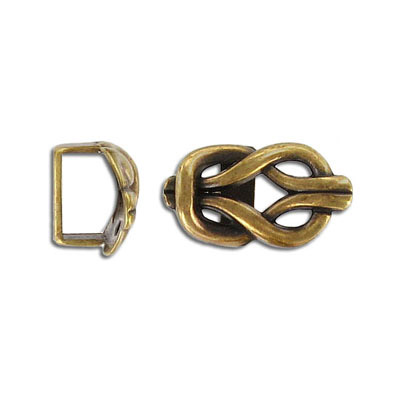 Metal beads for Regaliz leather TT10X7MM, 21x11.5mm, metal knot spacer, antique brass