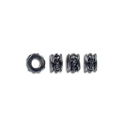 Metal beads, 6mm, inside diameter 3mm, black nickel finish