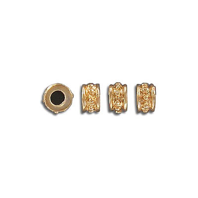 Metal beads, 6mm, inside diameter 3mm, gold plate