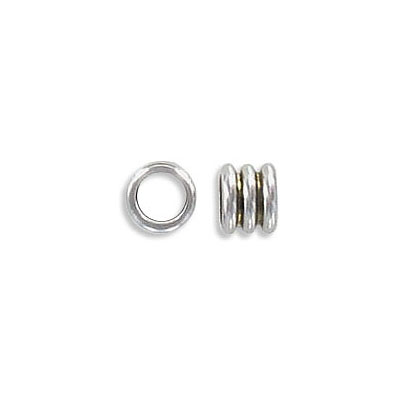 Metal beads, 6.4x5.4mm, inside diameter 4mm, stainless steel, grade 304