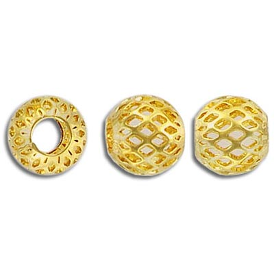 Metal beads, 10mm, filligree, gold plate