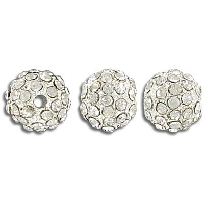 Metal beads, 10mm, rhinestone Shamballa, crystal