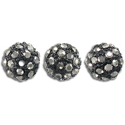 Metal beads, 10mm, rhinestone Shamballa, black diamond