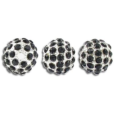 Metal beads, 10mm, rhinestone Shamballa, jet black