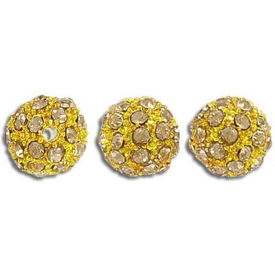 Metal beads, 10mm, rhinestone Shamballa, light smoked topaz
