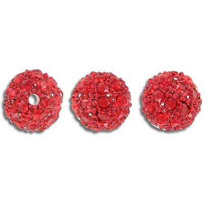 Metal beads, 10mm, rhinestone Shamballa, siam