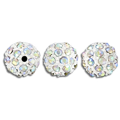 Metal beads, 10mm, rhinestone Shamballa, ab crystal