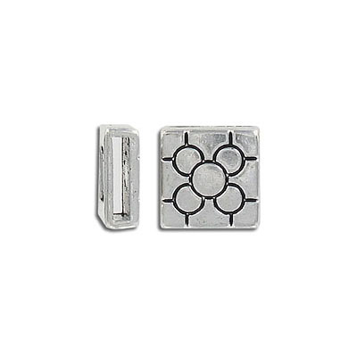 Metal bead, flat square slider, 14mm, inside diameter 10x2mm, antique silver