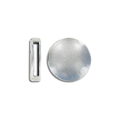 Flat round metal slider, 16mm, inside diameter 10x2mm, antique silver