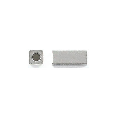 Metal beads, 10x4x4mm, rectangle, inside diameter 2mm, stainless steel, grade 304l