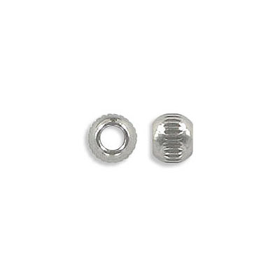 Metal beads, 6mm, round, with pattern, inside diameter 3mm, stainless steel