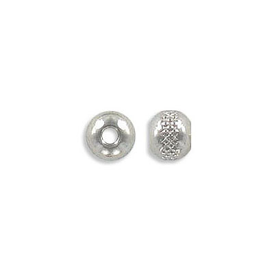 Metal beads, 6mm, round, with pattern, inside diameter 2mm, stainless steel