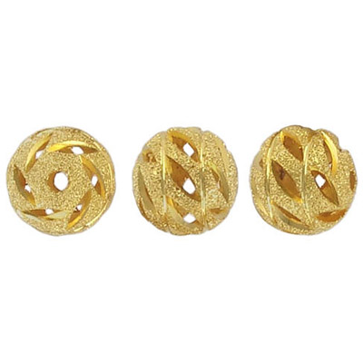 Metal beads,  diamond cut, round, 12mm, gold plated