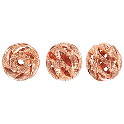 Metal beads,  diamond cut, round, 12mm, rose gold plated