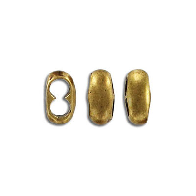 Metal beads, 11.5x5mm, two 4mm holes, slider, antique brass
