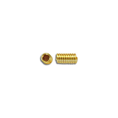 Metal beads, spacer, coil, 7mm (2.5mm id), gold plated
