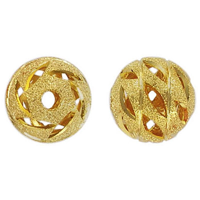 Metal beads, diamond cut, round, 14mm, gold plated