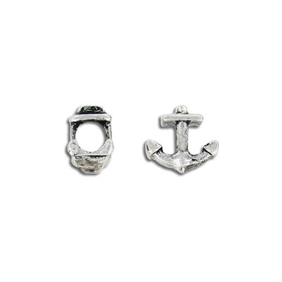 Metal bead, 5mm, anchor, antique silver