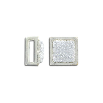 Metal beads for flat Regaliz leather, 13mm, square, Strass crystals, 10x2mm inner diameter, antique silver, zamak