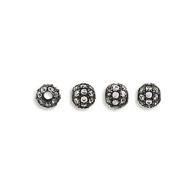 Metal beads, 4mm, inside diameter 1.30mm, brass core, pave with zircon, black nickel plate